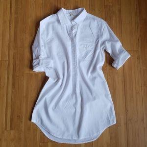 J crew white roll sleeves popover tunic shirt XXS